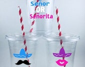 Senor or Senorita BABY GENDER Rveal Party CUPS Mexican Fiesta Taco Shower Cup Set
