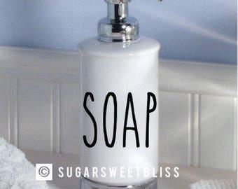 more colors rae dunn inspired soap decal permanent sticker bathroom hand soaps dispenser - Bathroom Soap Dispenser