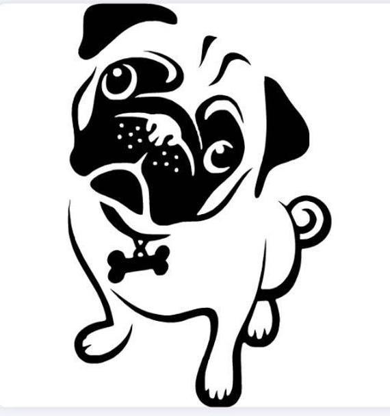 Dog Bone Sticker I Love My Pug Car Sign Puppy Decal Made in USA Buy2 Get3rd Free