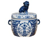 Blue and White Porcelain Foo Dog Lidded Candle The French Bee, Hand Poured, Handmade, Handcrafted, Fragrance, Gift