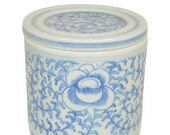 Blue and White Porcelain Vine Lidded Cylinder Candle The French Bee, Hand Poured, Handmade, Handcrafted, Fragrance, Gift