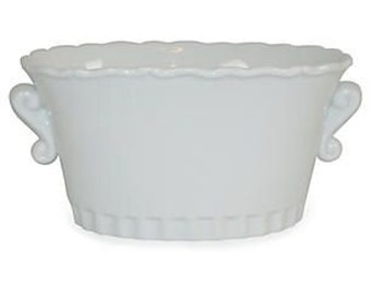 """7"""" Scrolled Cachepot, White   The French Bee, Classic White Porcelain Vase, Porcelain, White, Decor, Centerpiece, Gift"""