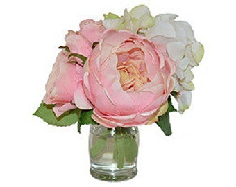 Pink Cabbage Roses and Blush Hydrangeas in a Hourglass Vase