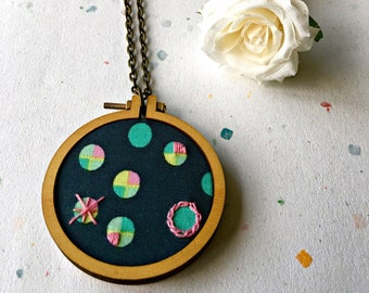 Mini hoop necklace, hand embroidery, statement necklace, fabric, wooden jewellery, fabric jewelry, wooden necklace, hand stitch necklace