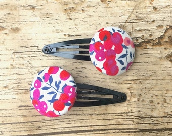 Fabric Hair Clips, pretty hair clip, mothers day gift, graduation gift, berry fabric, liberty fabric buttons, liberty print, fabric jewelry
