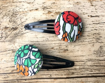 Liberty Fabric Hair Clips, pretty hair clip, mothers day gift, graduation gift, poppy fabric, fabric buttons, liberty print, fabric jewelry