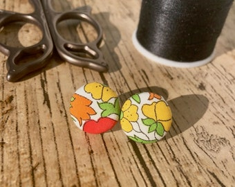 Fabric Covered Button Earrings, jewellery, earings, liberty fabric, floral fabric, covered buttons, fabric earrings, hypoallergenic