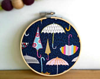 Mini embroidery hoop umbrella diy kit, cubicle decor, geeky cross stitch, bridesmaid gift, thread painting, modern embroidery, embroider