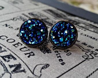 blue druzy earrings, rough diamond, druzzy, druzy stud earrings, moon druzy, druzy moon, druzy earrings, drusy earrings, large stud earrings