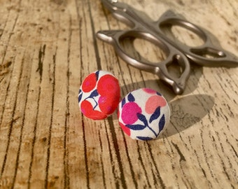 Floral fabric earrings, gift for her, Fabric Covered Button Earrings, liberty fabric covered buttons, fabric earrings, hypoallergenic