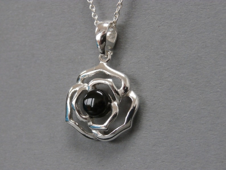 WHITBY JET Rose Pendant set in solid sterling silver