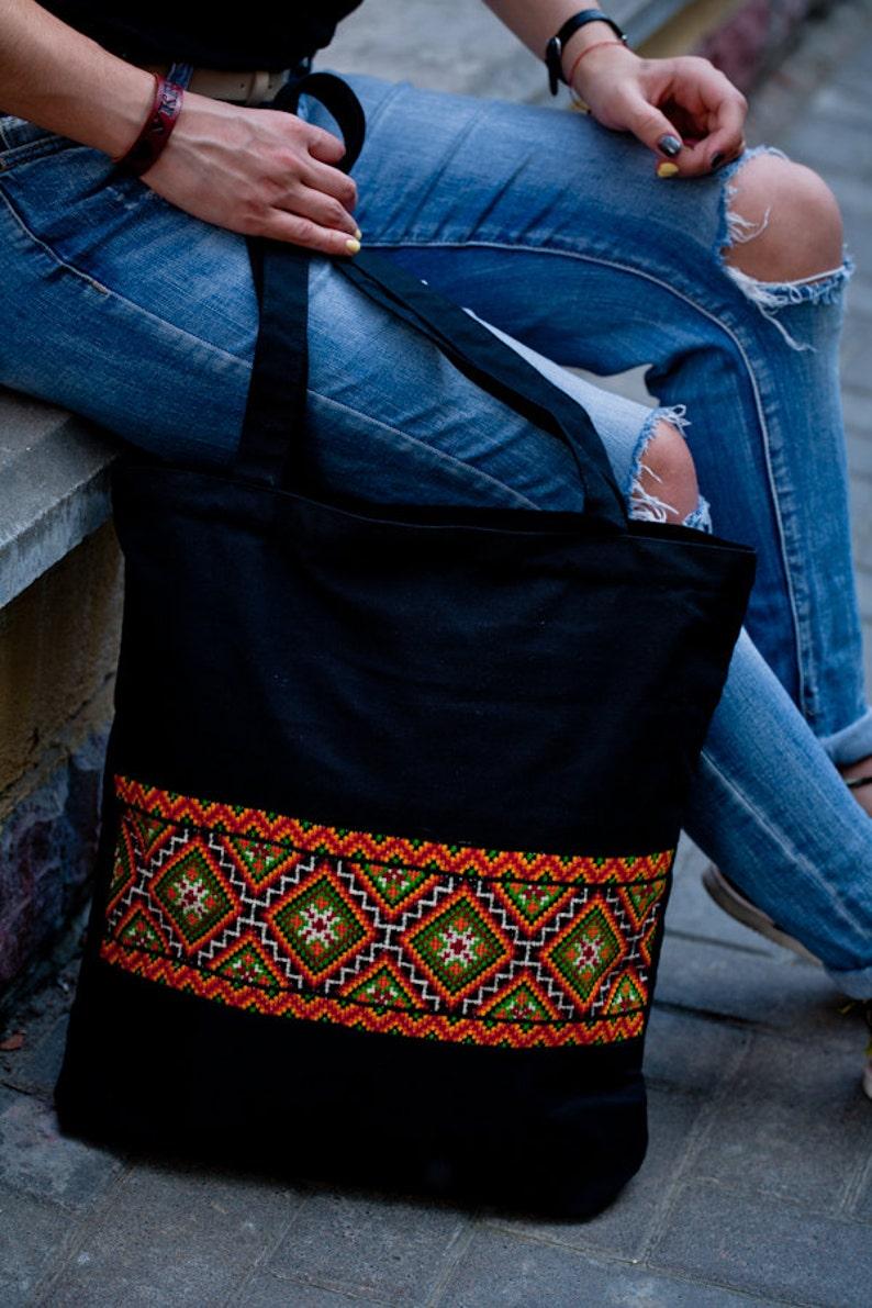 Ukrainian ethnic bag canvas tote bag zipper Canvas bag with Ukrainian embroidery black canvas zipper tote bag Ukrainian gift for her