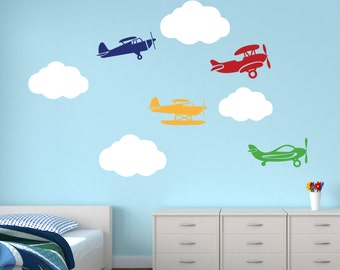 Airplanes with Clouds Wall Decal - Airplane Decal Clouds Decal - Nursery Wall Decal - Kids Boys Room Decor Vinyl Wall Decal  sc 1 st  Etsy & Airplane wall decals | Etsy