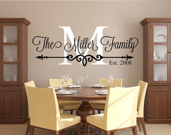 Family Name Wall Decal   Personalized Family Monogram   Living Room Decor    Established Date Vinyl Wall Decal