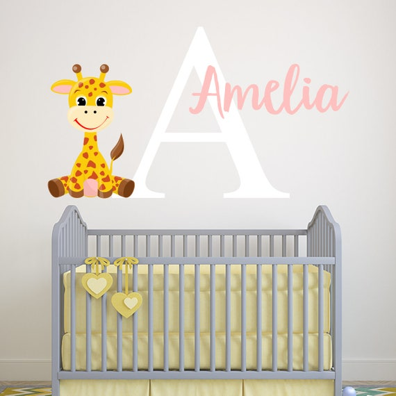 personalized name wall decal giraffe wall decal girls wall | etsy