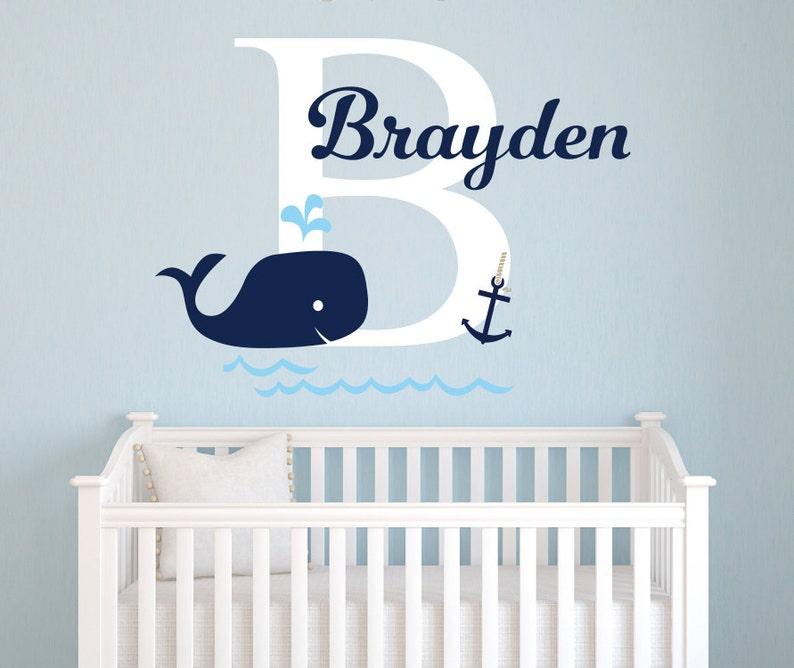Wandtattoo Name Wal-Wandtattoo nautische Baby Zimmer Dekor | Etsy