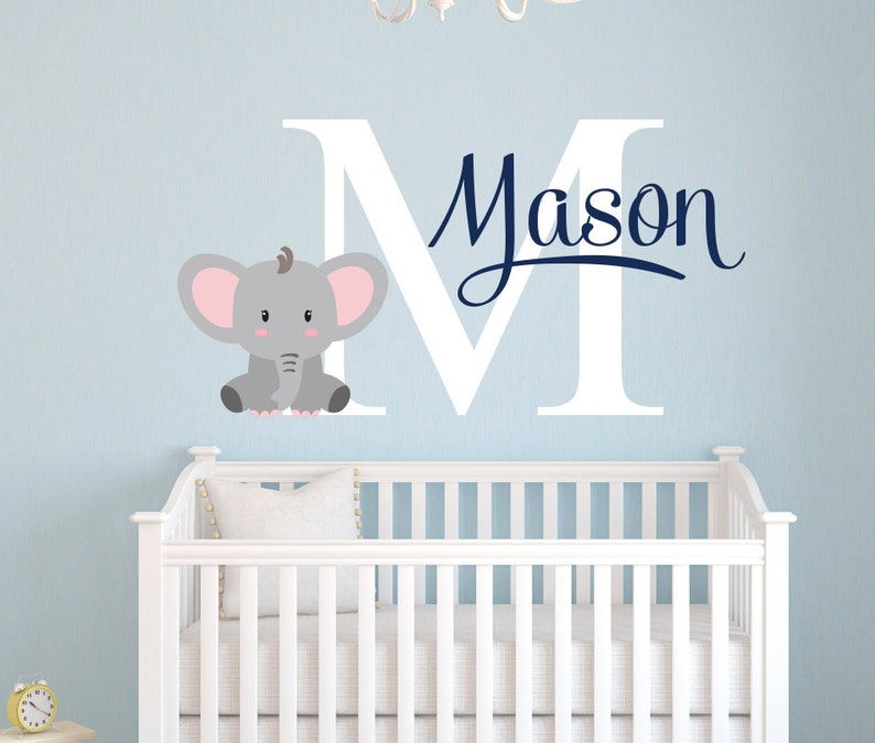 elephant name wall decal custom name wall decal elephants baby boy