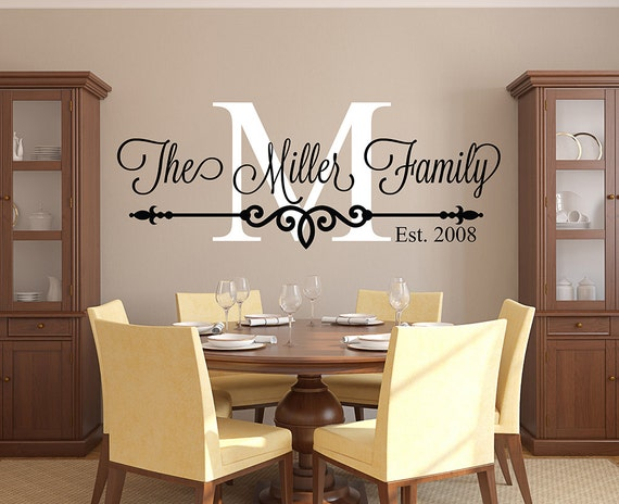 family name wall decal personalized family monogram living | etsy