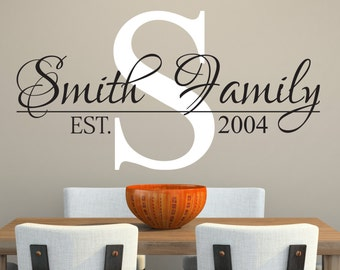 Family Name Wall Decal   Custom Wall Decal   Living Room Decor   Family  Decal