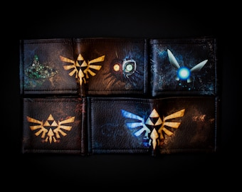 Personalized Legend of Zelda wallet, Leather Zelda bifold, leather Legend of Zelda wallet Triforce, Ocarina of time, Majoras mask wallet