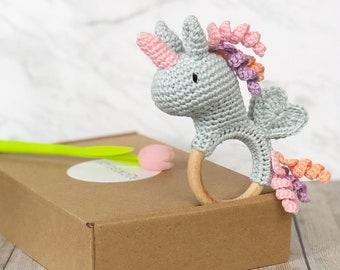 Unicorn Rattle, Welcome Baby Gift, Baby Girl Rattle, Baby Shower Gift, New Mom Gift, Baby Gift, Crochet Rattle