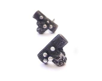 Oxidized Stem Silver Earrings, Stud sterling silver Earrings, Oxidized sterling silver Earrings, Organic Silver Earrings, Nature Earrings