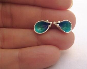 Handmade Blue Enamel Earrings Sterling silver, Enamel stud Earrings, Contemporary Jewelry, 925 Silver, Blue Enamel Earrings, Enamel Jewelry