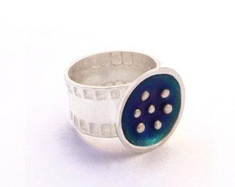 Blue Enamel Ring, Blue Rings for Women, 925 Silver Ring, Blue Ring, Sterling Silver Ring, Modern Ring, Contemporary Jewelry, Enamel ring