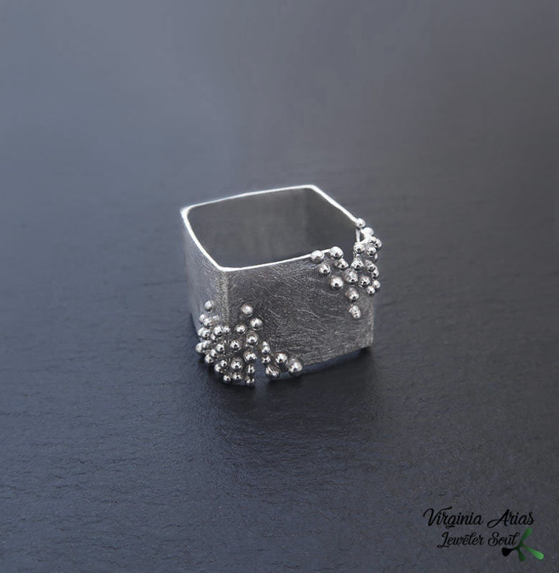 Silver Square Ring Contemporary Ring Sterling silver with Granulation Modern brushed ring
