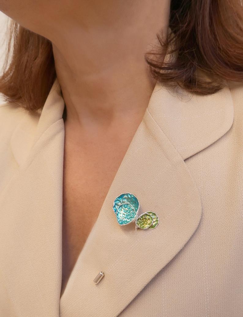 Med Oysters Brooch Sterling Silver Brooch Modern Contemporary Jewelry Silver Brooches Modern Enamel Jewelry
