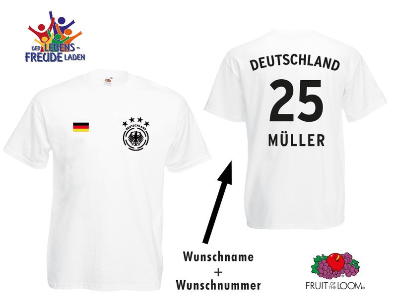 new product 17f4d cbd8c World Cup 2018 - Germany Soccer Jersey T-Shirt - Coat of Arms 4 stars -  Number + custom name - Flex Print