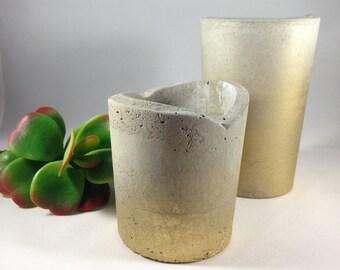 Gold Ombre Concrete Planter, Succulent Planter, Cement Planter