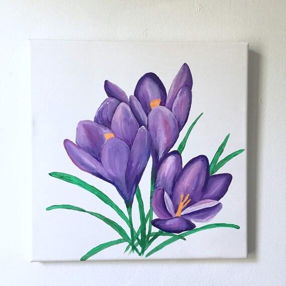 Crocus Painting Crocuses Floral Flower Painting Acrylic Etsy