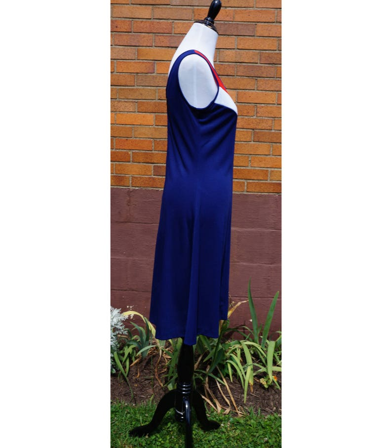 Preppy Game Day Vintage Sportswear Tank Dress and Matching Cardigan,A- Line Sporty Red White and Blue School Team Spirit American