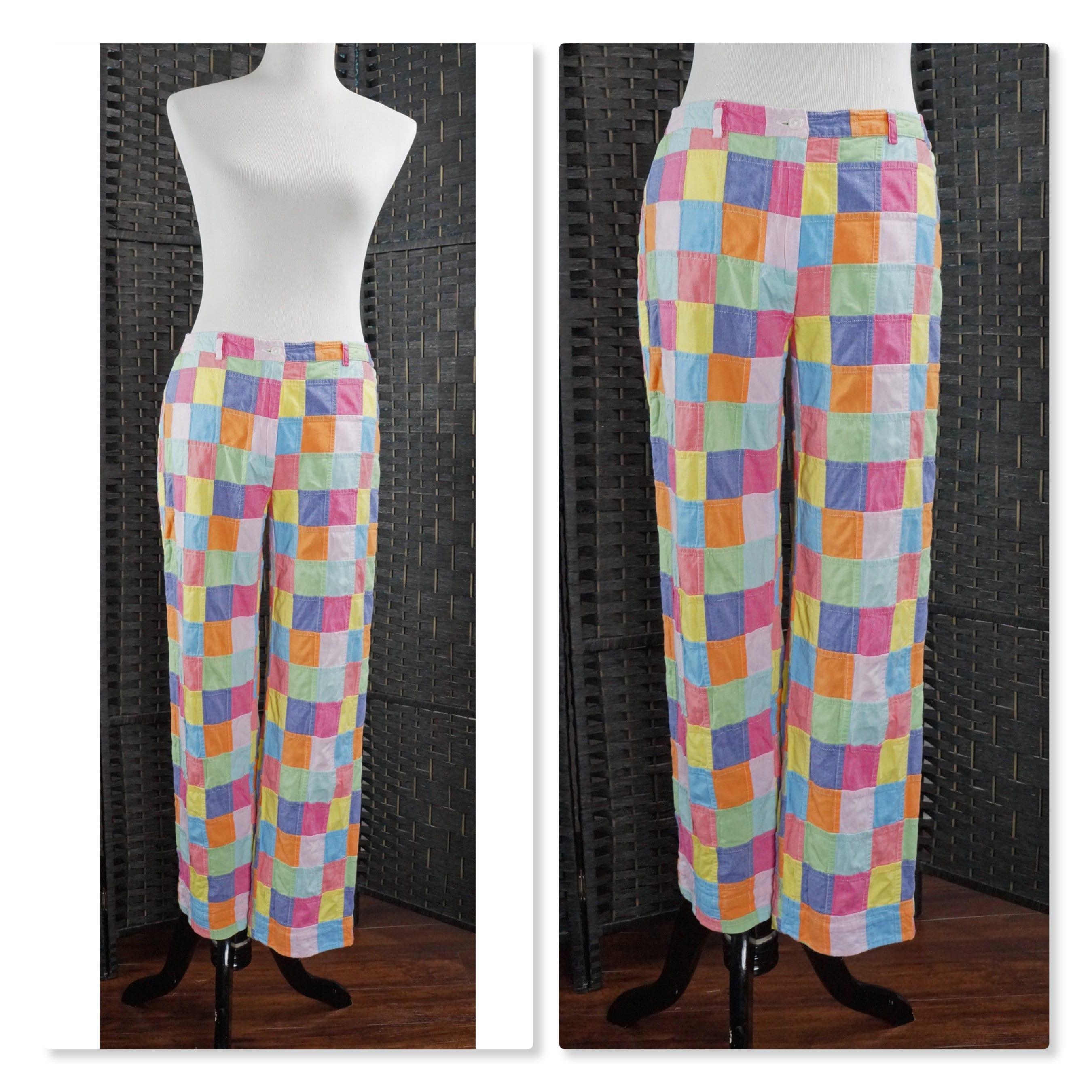 Vintage Hippie Pants Madras Patchwork Multi-Color Boho  b52b8346c