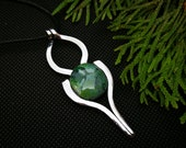 Brazilian nephrite jade necklace, green jewelry gift for best friend, Christmas gifts for her, stainless steel fork pendant for women