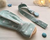 Turquoise and white baby pacifier clip holder and montessori wood teething ring : organic cotton and natural wood