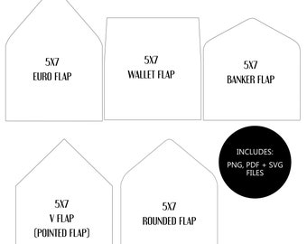 5x7 DIY Envelope Liner TEMPLATE Set Printable Templates Blank