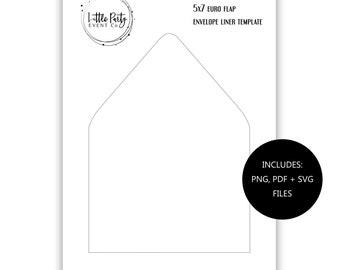 5x7 Euro Flap Envelope Liner TEMPLATE Set Printable Template Blank Templates DIY