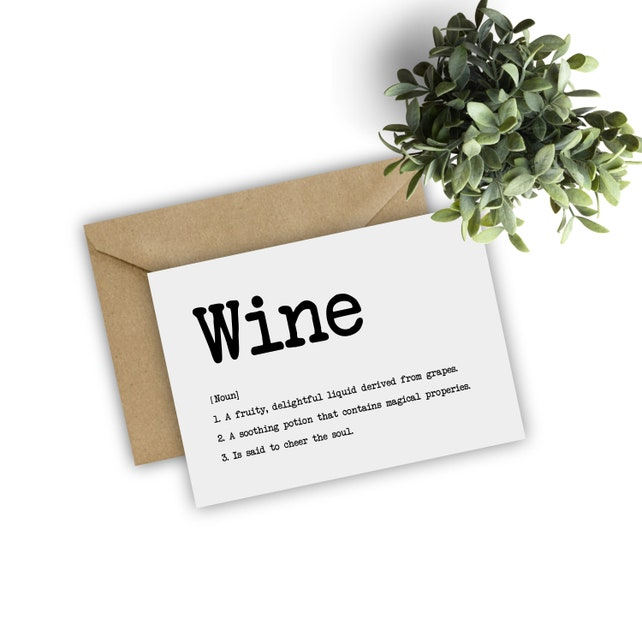 Printable Wine Definition Card Lovers Funny Greeting Typography Mothers Day