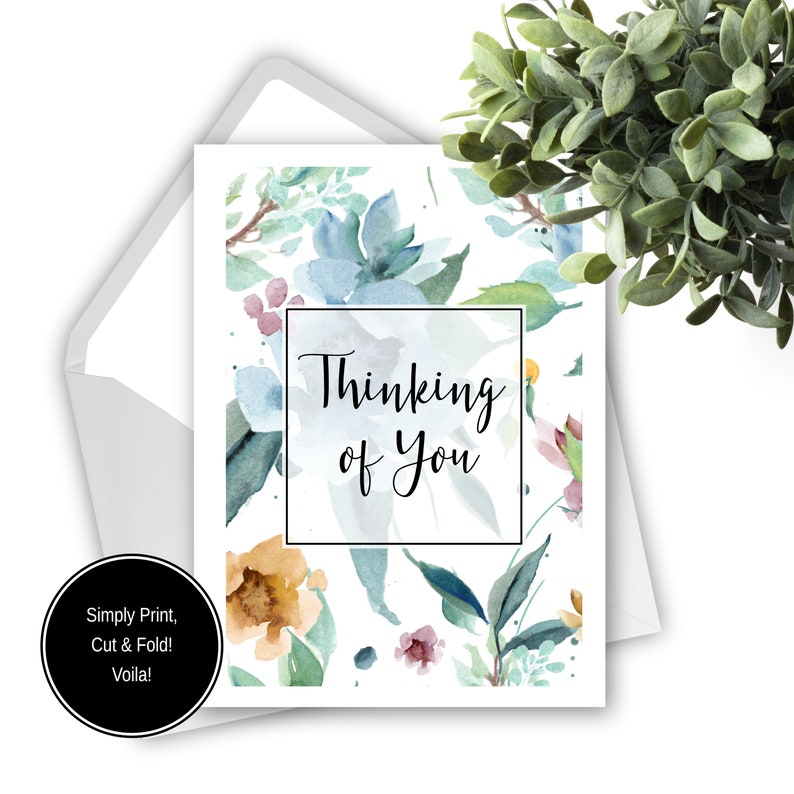 photo about Printable Thinking of You Cards named Printable Wanting to know of Yourself Card, Pastel Floral Greeting Card, Mind  Sympathies Card, Watercolour Card, Printable Card, Do it yourself Blank Card