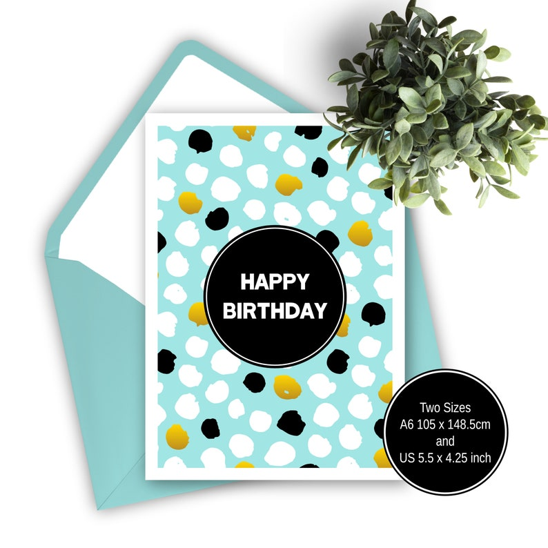 Printable Birthday Card Blue Gold Black Happy