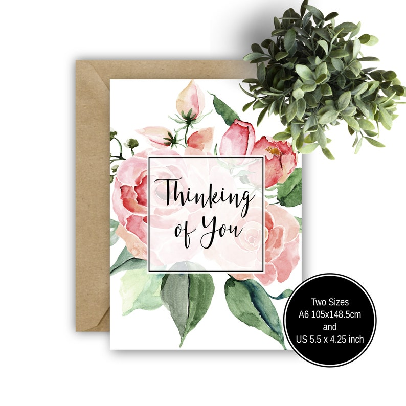 image about Printable Thinking of You Cards titled Printable Wanting to know of Your self Card, Red Floral Greeting Card, Intellect  Sympathies Card, Watercolour Card, Printable Card, Blank Greeting Card