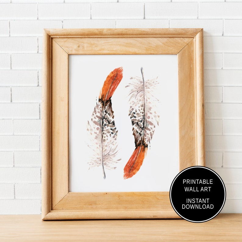 a1468dbba6174 Printable Orange Feather Wall Art Boho Tribal Art Print