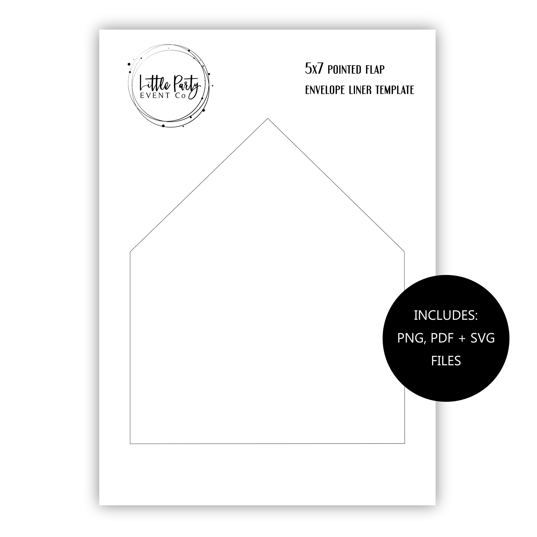 5x7 V Flap Pointed Envelope Liner TEMPLATE Set Printable