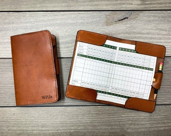 Leather Golf Scorecard Holder, Handstitched, Golf Gifts, Yardage Book Holder, Leather Gifts, Gifts for Dad, Gifts for Golfers, Personalized