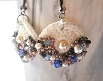 White crochet earring