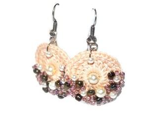 Cream crochet earring