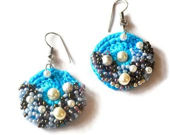 Blue crochet earring