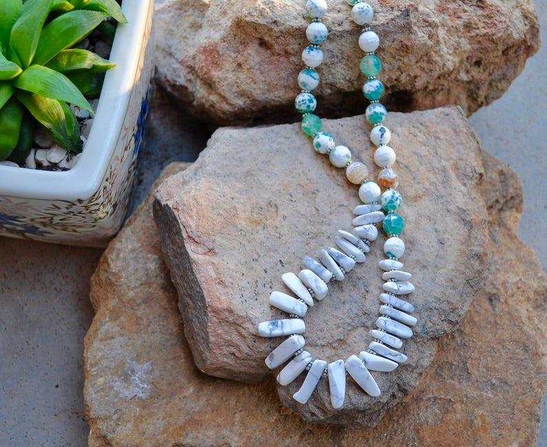 natural stone precious stone white agate agate necklace white necklace gemstone green neckpiece green beaded silver beaded